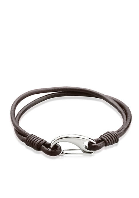 Mens Leather and Stainless Steel Bracelet