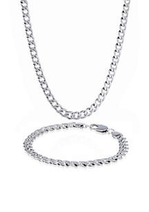 Men's Stainless Steel Necklace and Bracelet Set