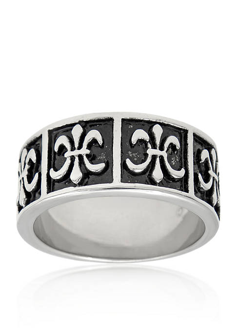 Mens Stainless Steel Ring with Antique Finish