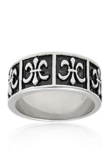 Men's Stainless Steel Ring with Antique Finish