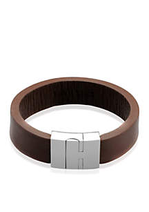 Men's Leather and Stainless Steel Bangle