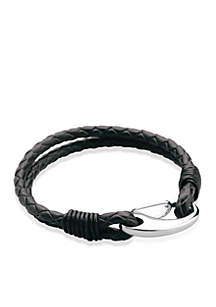 Men's Stainless Steel and Leather Bracelet