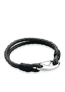 Belk & Co. Men's Stainless Steel and Leather Bracelet