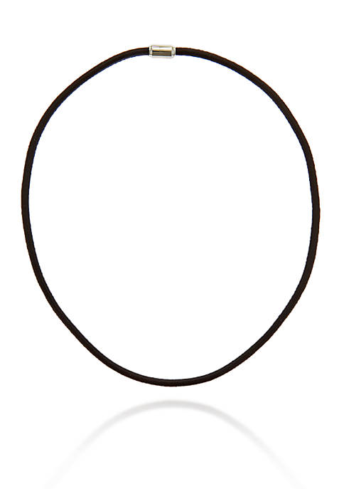 Mens Black Leather Necklace