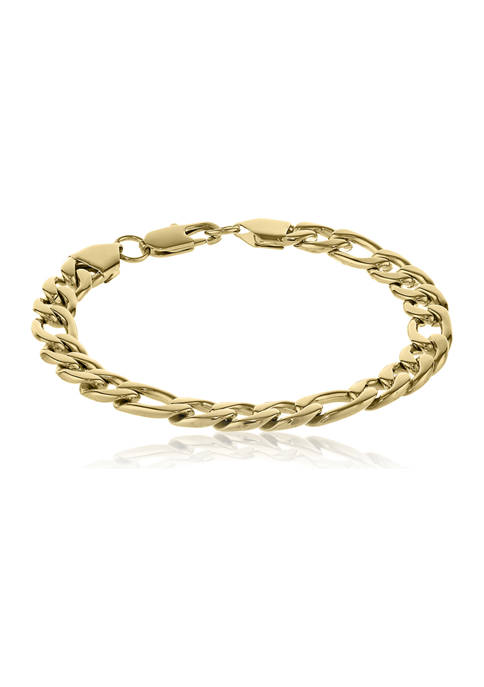 Stainless Steel 9 Millimeter Figaro Chain Bracelet with Gold Tone Ion Plating, 9 Inch