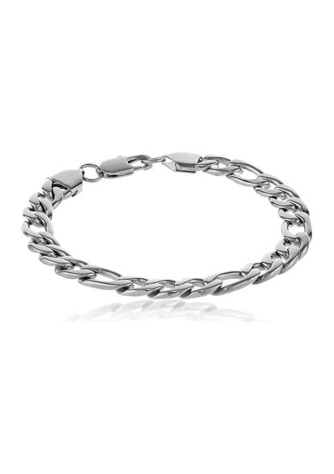 Stainless Steel 9 Millimeter Figaro Chain Bracelet, 9 Inch