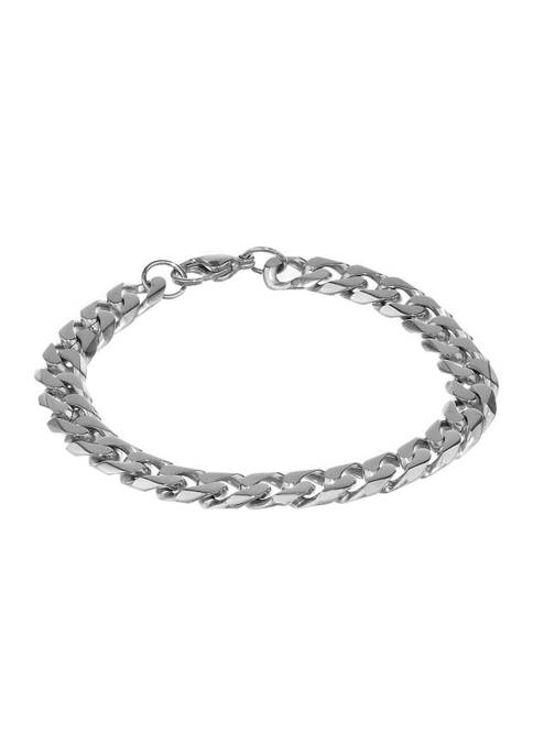 Stainless Steel 10 Millimeter Cuban Chain Bracelet, 9 Inch