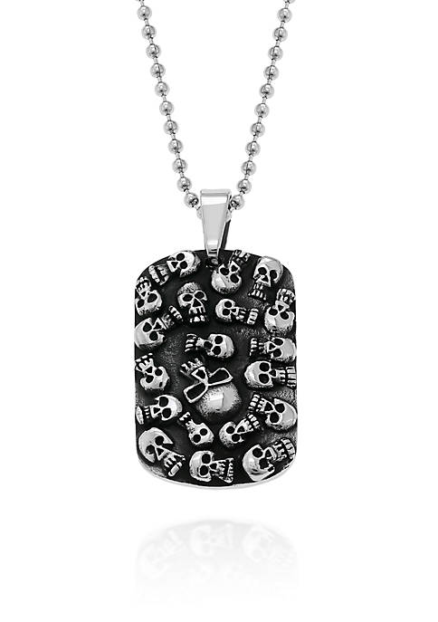 Mens Stainless Steel Skull Dog Tag Pendant