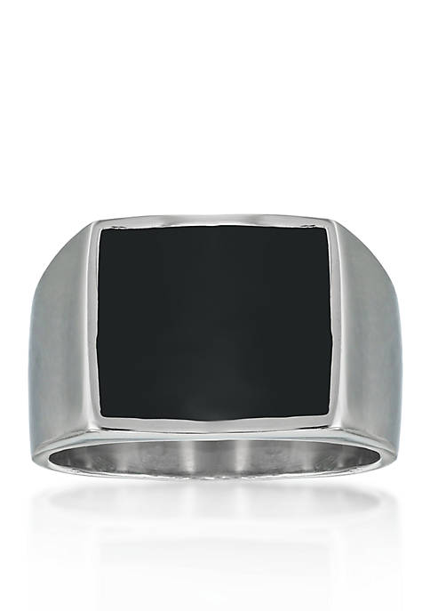 Mens Stainless Steel and Black Resin Ring