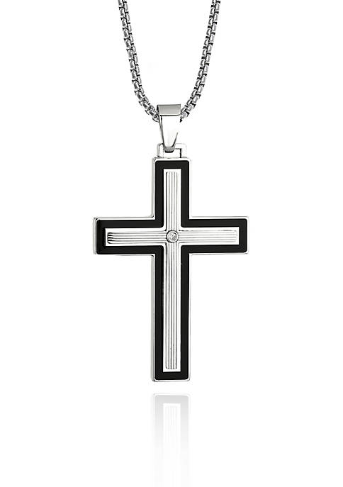 Mens Stainless Steel Cubic Zirconia Cross Pendant