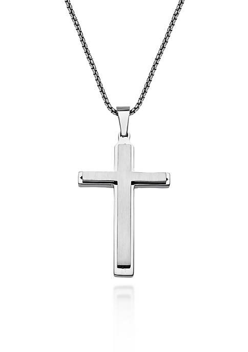 Belk & Co. Mens Stainless Steel Cross Pendant