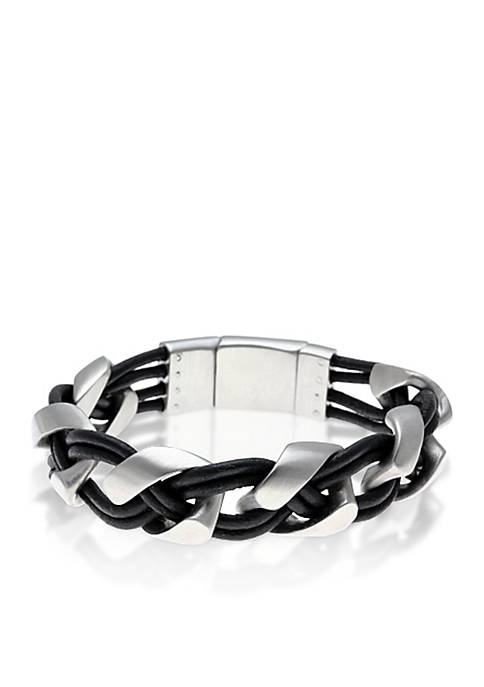 Belk & Co. Mens Stainless Steel and Black
