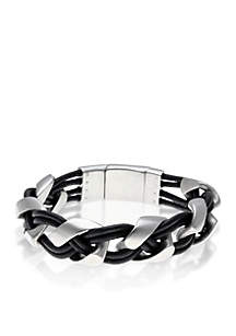 Men's Stainless Steel and Black Leather Bracelet