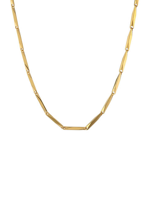 Stainless Steel 3 Millimeter Bullet Chain Necklace with Gold Tone Ion Plating, 24 Inch