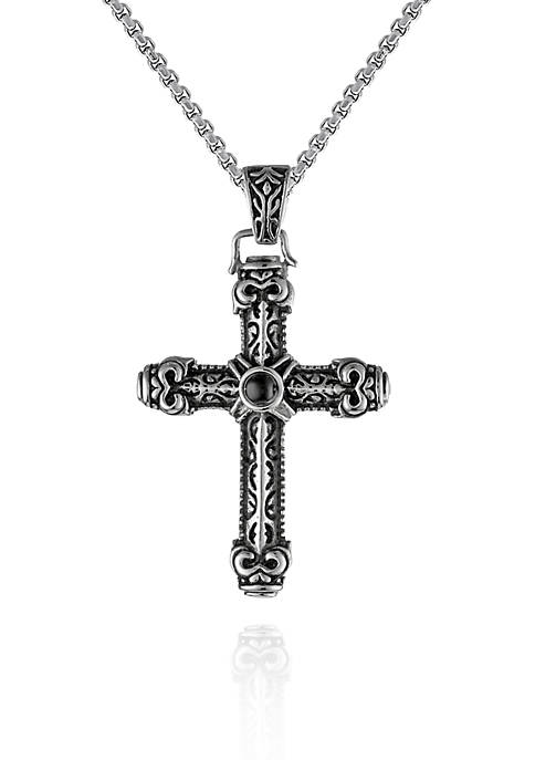 Mens Stainless Steel and Black Agate Cross Pendant