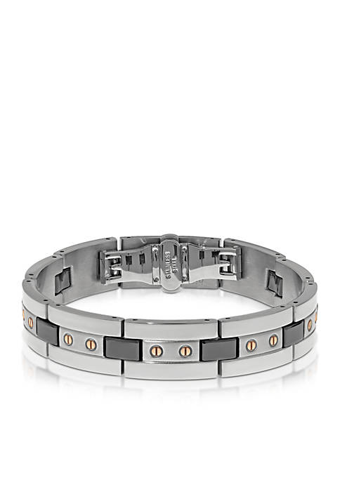 Mens Stainless Steel and Ceramic Bracelet