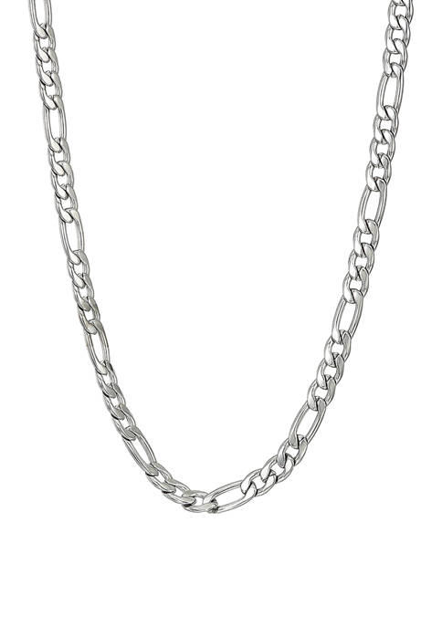 Stainless Steel 4 Millimeter Figaro Chain Necklace