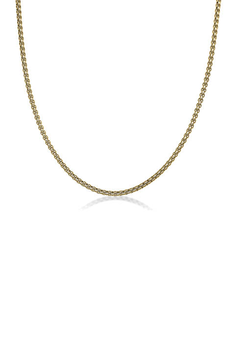 Stainless Steel 2 Millimeter Round Box Chain Necklace with Gold Tone Ion Plating