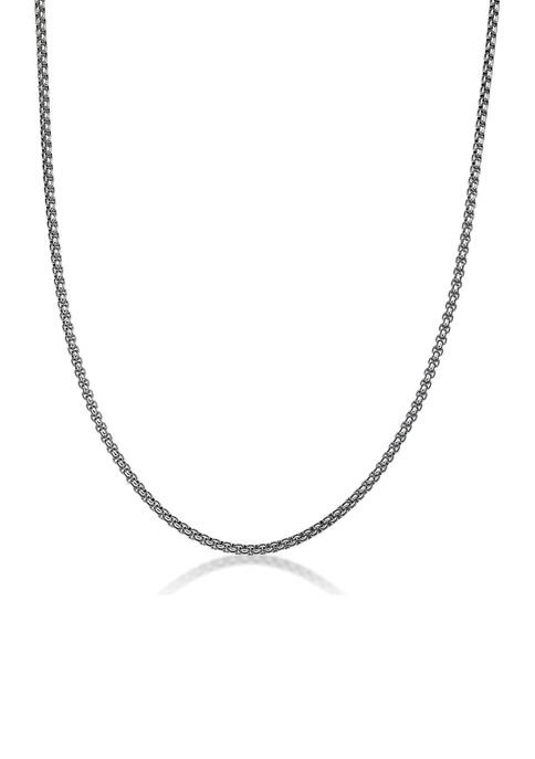 Stainless Steel 3 Millimeter Round Box Chain Necklace, 24 Inch
