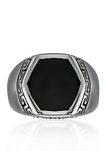 Men's Stainless Steel and Black Resin Ring