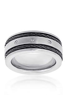 Men's Stainless Steel Cable Cubic Zirconia Ring