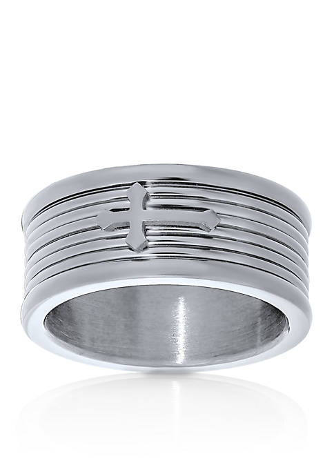Belk & Co. Mens Stainless Steel Cross Ring