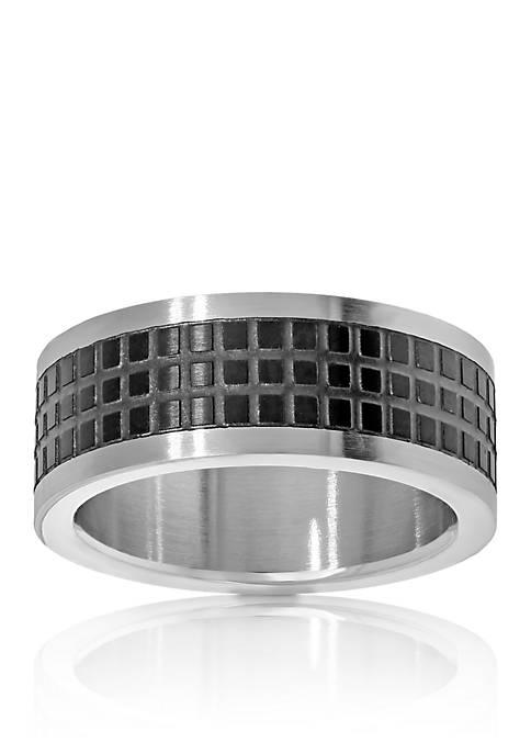 Mens Stainless Steel Black Pattern Ring