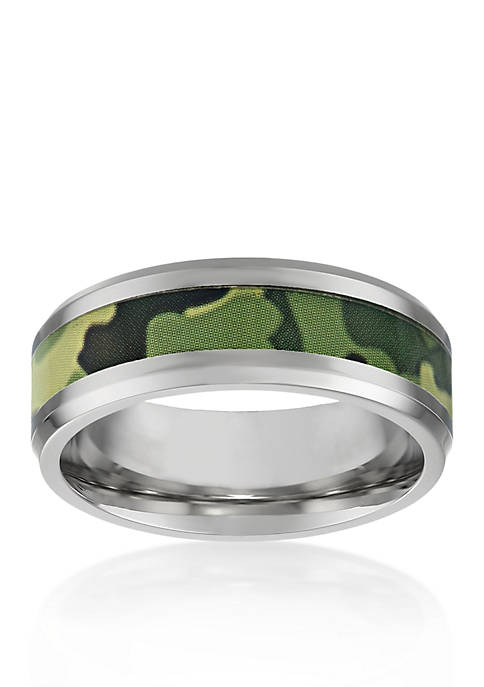 Mens Stainless Steel Green Camouflage Ring