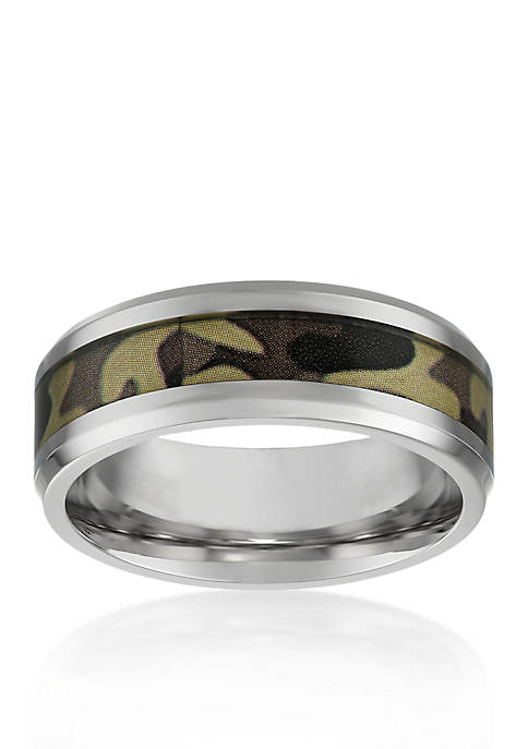 Belk & Co. Mens Stainless Steel Brown Camouflage