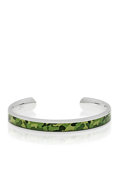 Mens Stainless Steel Green Camouflage Bangle