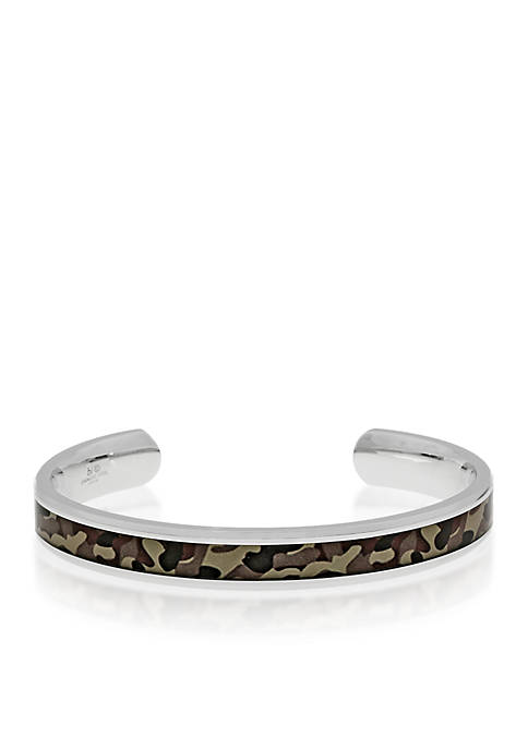 Mens Stainless Steel Brown Camouflage Bangle