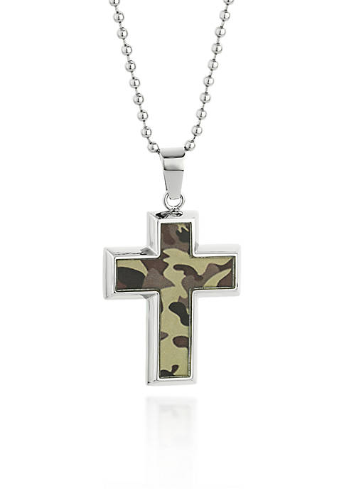 Mens Stainless Steel Camouflage Cross Pendant