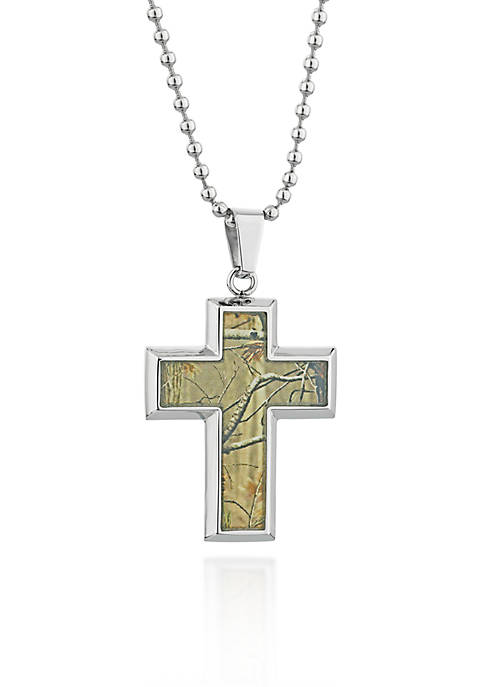 Belk & Co. Mens Stainless Steel Camouflage Cross