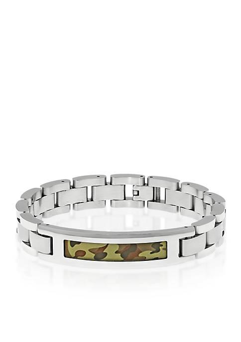 Mens Stainless Steel Camouflage Bracelet