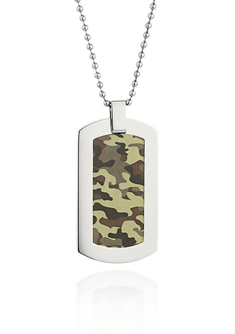 Mens Stainless Steel Camouflage Dog Tag Necklace