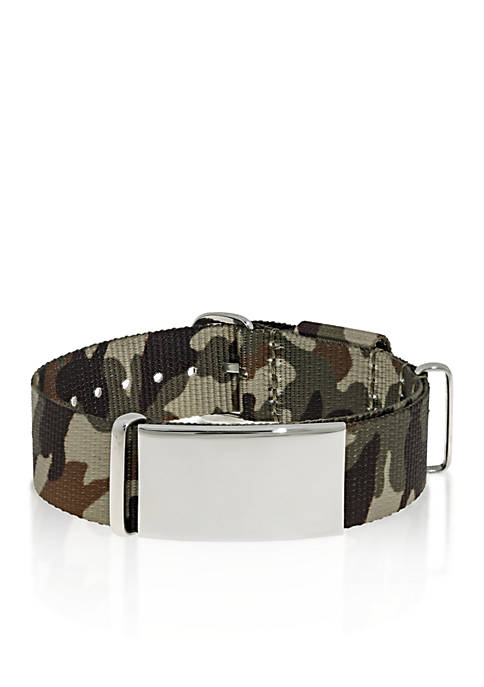 Mens Stainless Steel Camouflage ID Bracelet