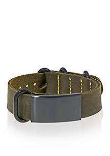 Men's Leather and Stainless Steel ID Bracelet