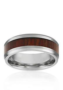 Belk & Co. Men's Stainless Steel Brown Wood Ring