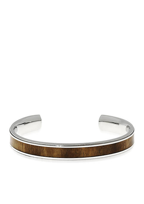 Mens Stainless Steel and Wood Cuff Bracelet