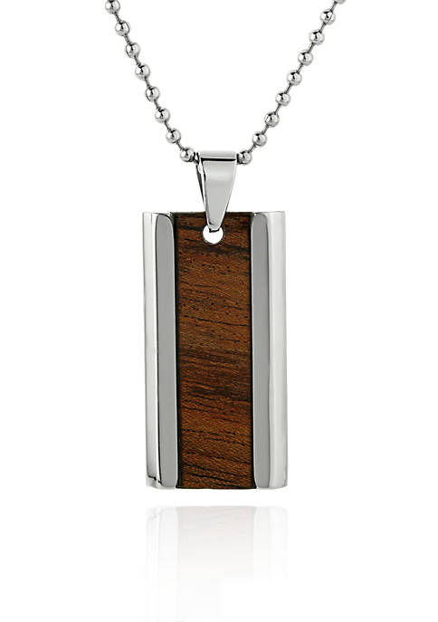 Mens Stainless Steel Brown Wood Dog Tag Pendant