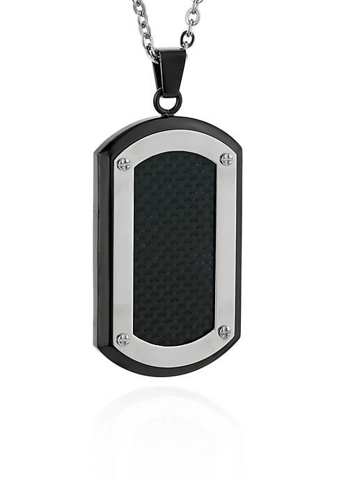 Mens Stainless Steel Black Carbon Fiber Dog Tag Pendant