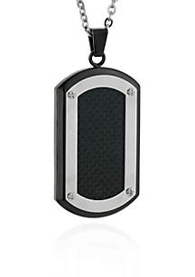 Men's Stainless Steel Black Carbon Fiber Dog Tag Pendant