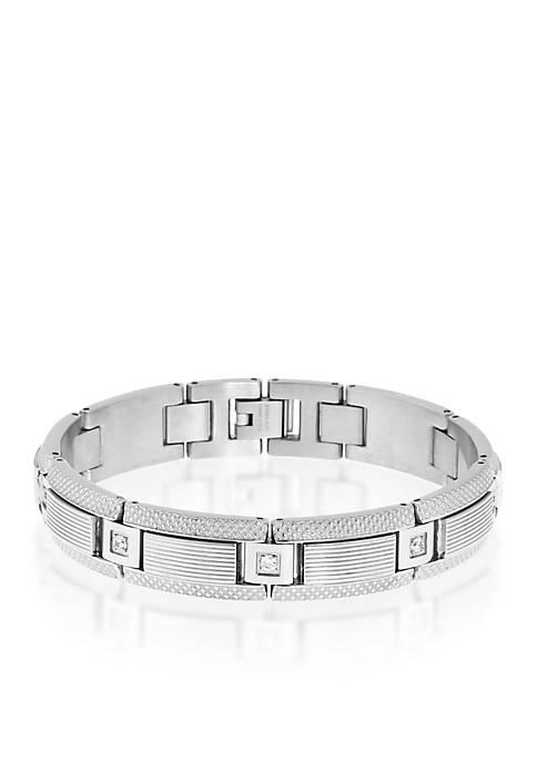 Belk & Co. Mens Stainless Steel Diamond Bracelet
