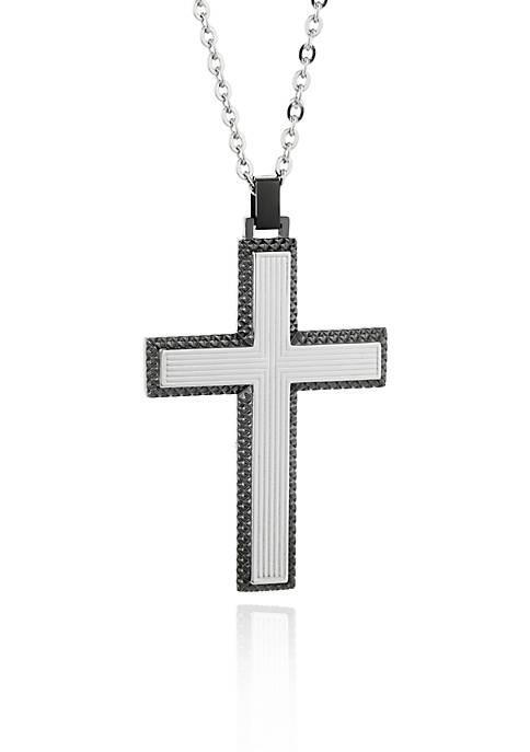 Mens Stainless Steel Gun Metal Gray Cross Pendant