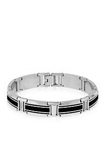 Men's Stainless Steel Black Resin, Carbon, and Cubic Zirconia Bracelet