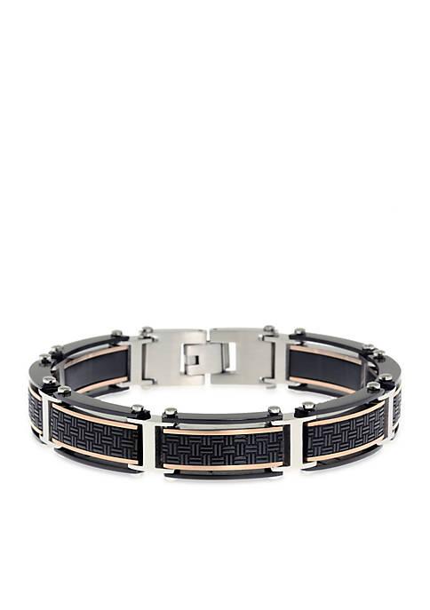 Mens Stainless Steel Textured Cable Bracelet