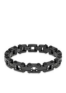 Men's Stainless Steel and Carbon Fiber Bracelet