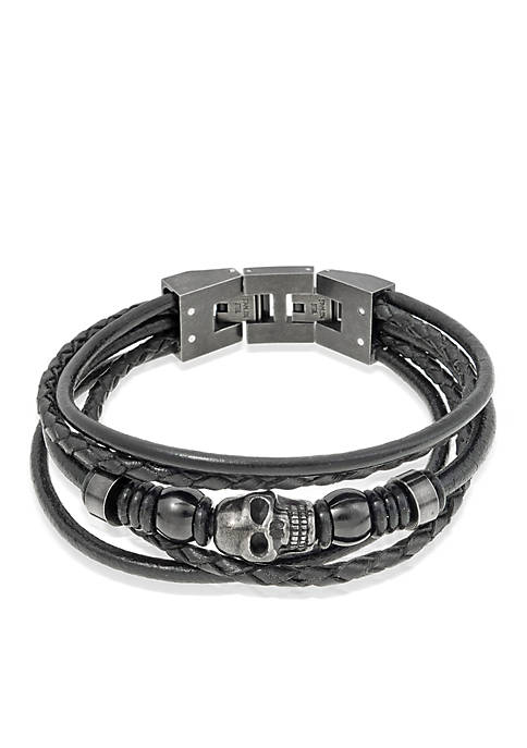 Belk & Co. Mens Black Leather Bracelet
