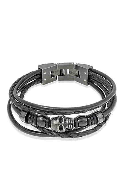 Belk & Co. Mens Black Leather Bracelet ...