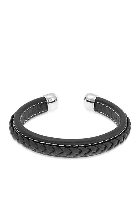 Belk & Co. Mens Stainless Steel and Leather